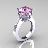Classic 10K White Gold 3.0 Carat Light Pink Sapphire Diamond Solitaire Wedding Ring R301-10KWGDLPS