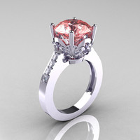 Classic 10K White Gold 3.0 Carat Peach Topaz Diamond Solitaire Wedding Ring R301-10KWGDPT