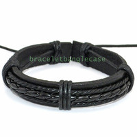 Black leather cuff bracelet with cotton ropes and leather wrist bracelet men or women cuff bracelet friend gift  d-345