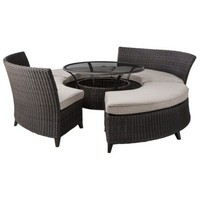 Threshold Belvedere 5-Piece Wicker Patio Sectional Dining Furniture Set - Tan
