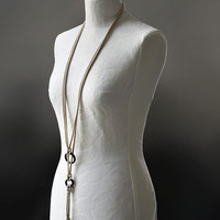 Knitted knotted jewelry necklace belt multifunctional with ebony wood rings cream light brown ecru beige