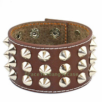 Brown leather wrist bracelet with leather and silver nail cuff bracelet punk rock cuff bracelet men bracelet friendship bracelet d-346