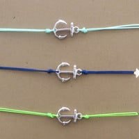 Anchor Bracelet Anklet Trio Mint Green Cobalt Blue Lime Green