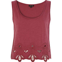 Red embroidered hem cropped vest  - crop t-shirts - t shirts / vests / sweats - women
