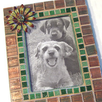 Mosaic Picture Frame, Green Brown Picture Frame, Green Flower Frame, 3.5 x 5 Frame