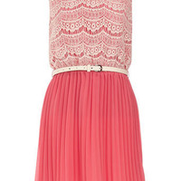 Coral crochet detail dress - Dresses - Clothing - Dorothy Perkins United States