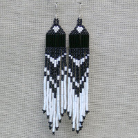 White and Black Earrings. Beaded Native American Earrings Inspired. Dangle Long Earrings. Beadwork