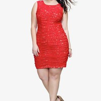 Red &amp; Nude Allover Lace Dress | Dresses
