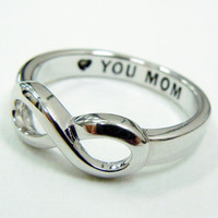 MOTHER DAY GIFT  Infinity Ring  Free Giftwrap Hand Engraved Amazing Gift for mother Size 6