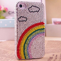 rainbow case white clouds  case NEW Rare Colorful  For iPhone 4 iPhone 4S Screen Protect with Bling Bling Rhinestones handmade