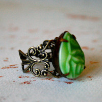 RING SALE  Vintage Mint Carved Floral Pear Ring by orangejuniper