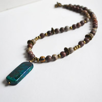 Green Mala Necklace, Leopard Skin Jasper with Chrysocolla Stone Pendant, Earthy Neutral Round Stone Jewelry, Canadian Shop