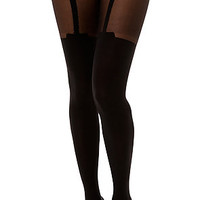 Foot Traffic TightsFaux Garter in Black
