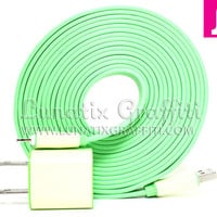 iPhone 5 Charger XXL - 10 ft Long Flat Noodle iPhone 5 Charger (Green)