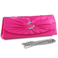 Dasein Women's Satin Clutch Evening Purse Bag w/ Rhinestone Ring Accented Flap