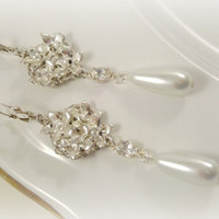 Long Floral Bridal Earrings, Vintage Look Wedding Earrings, White Pearl Earrings, Silver Unique