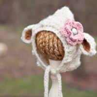 Lamb Bonnet Crochet Baby Hat by GiggledPink
