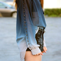 Ombre Cut-Out Blouse