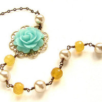 Bridesmaid jewelry, Mint lemon bridal necklace, Wedding necklace champaign pearls mint rose necklace, wedding bridal party jewelry