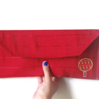 Clutch - Upcycled Red Apple Tree Back to School