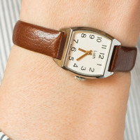 Vintage women's watch Luch silver tone wrist watch accessory lady watch cappuccino color leather