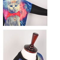 k womens graphic galaxy cat printed long sleeve sweatshirt t-shirts jumpers
