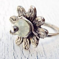 Green Garnet Flower Ring Fine Silver size 6.5 to 7 | WestWindCreations - Jewelry on ArtFire