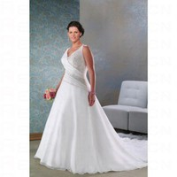 White Satin A line Skirt V neck Cathedral Train Plus Size Wedding Dress - Wedding Dresses - Apparel