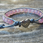 Beaded Leather Single Wrap Bracelet with Pink Luster Czech Glass Beads on Hematite Leather
