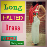 Long Halter Dress Fringe Open Back Adult Size XS/S by Roupoli