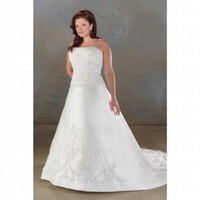 Fashionable White Satin A line Strapless Embroidery Plus Size Wedding Dress - Wedding Dresses - Apparel
