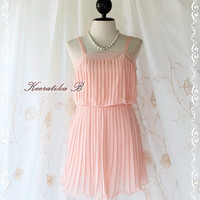 My Sunshine Day - Cutie Mini Dress Spring Summer Sundress Baby Pink Color Fully Pleated Dress XS-S