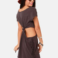 RVCA Tempting Washed Black Cutout Dress