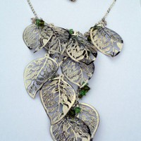 Silver filigree leaf bib necklace vert Swarovski crystal accents | KimPhoenixDesignJewelry - Jewelry on ArtFire