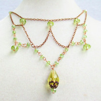 Yellow & Green Crystal Woven Chain Victorian Style Necklace