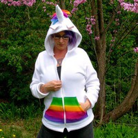 Deluxe Unicorn Hoodie Jacket rainbow Zipper pockets Cosplay Fantasy