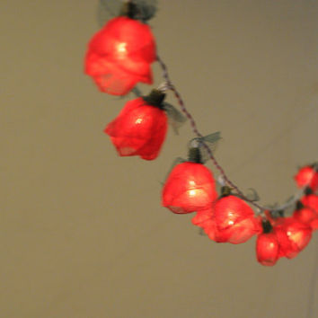 20 Red Romantic handmade real leaf Rose flower leaf by cottonlight