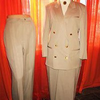 AUGUSTUS SUIT Classy Jacket With Pants &amp; Skirt Beige Wool Lined S14 MADE IN USA
