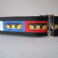 "Ninja Martingale Collar, Ninja Dog Collar, 1.5"" Martingale Collars, Black Martingale Collar, Greyhound Collar, Dog Collar, Wide Dog Collar"