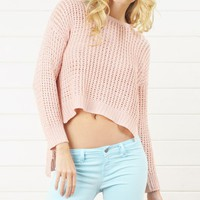 IGW722 Pink Fishnet Crochet High low Sweater and Shop Apparel at MakeMeChic.com