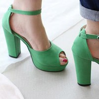 Summer Collection: Daria Platform Sandals GREEN from AlisonSman