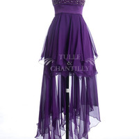 Chic Purple Beaded Embellished High Low Prom Party Dress 2013 [TBQP085] - $258.00 : Custom Wedding, Prom, Evening Dresses Online | Tulle & Chantilly