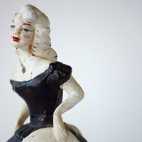 Southern Bell of the Ball Chalkware Plaster Statue in Black Ruffled Dress Vintage Chippy Figurine