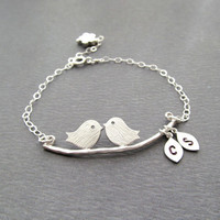 Engagement Gift LOVE BIRDS Bracelet Personalized by BlueDoveStudio