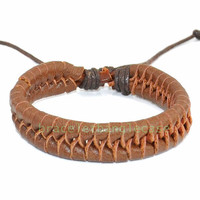 Brown leather woven cuff bracelet for men bracelet  women cuff bracelet charm bracelet best friend gift friendship bracelet d-348