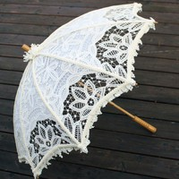 Hand Embellished Ivory Battenburg Lace Steampunk Parasol Bridal | dbvictoria - Accessories on ArtFire