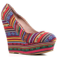 *Sole Boutique Woven Fabric Wedge Heel in Multi