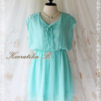 Shining After Rain - Delicate Lady Pastel Dress Mint Blue Color Lace Embroidered Bridesmaid Wedding Party Simply Dress S-M