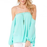 Tarilyn Off Shoulder Top in Mint - ShopSosie.com
