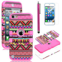Stylus + For iPod Touch 5 5G Hybrid High Impact Case Tribal Pink / Pink Silicone